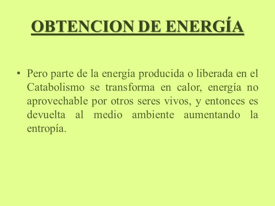 OBTENCION DE ENERGÍA Pero parte de la energía producida o liberada en el Catabolismo se transforma en calor, energía no aprovechable por otros seres vivos, y entonces es devuelta al medio ambiente aumentando la entropía.