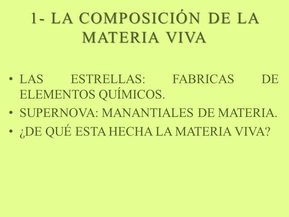1- LA COMPOSICIÓN DE LA MATERIA VIVA LAS ESTRELLAS: FABRICAS DE ELEMENTOS QUÍMICOS. SUPERNOVA: MANANTIALES DE MATERIA. ¿DE QUÉ ESTA HECHA LA MATERIA V