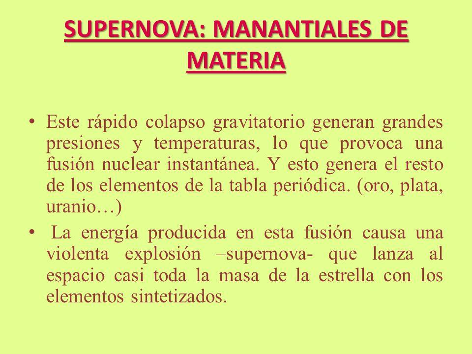 SUPERNOVA: MANANTIALES DE MATERIA Este rápido colapso gravitatorio generan grandes presiones y temperaturas, lo que provoca una fusión nuclear instant
