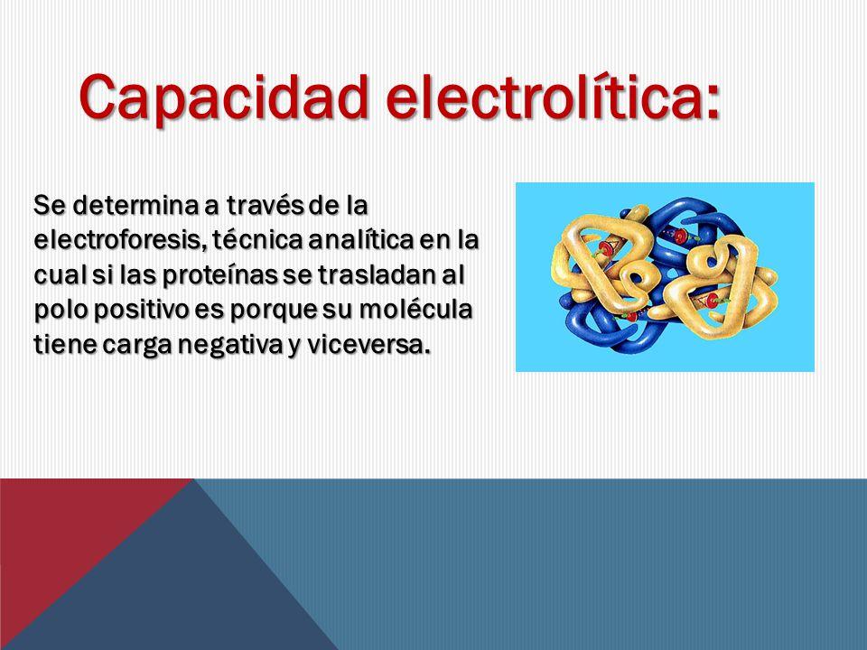 Capacidad electrolítica: Se determina a través de la electroforesis, técnica analítica en la cual si las proteínas se trasladan al polo positivo es porque su molécula tiene carga negativa y viceversa.