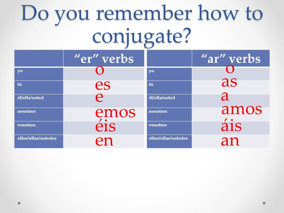 Do you remember how to conjugate? er verbs yo tú él/ella/usted nosotros vosotros ellos/ellas/ustedes ar verbs yo tú él/ella/usted nosotros vosotros el