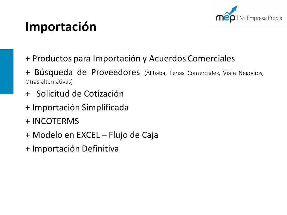 + Productos para Importación y Acuerdos Comerciales + Búsqueda de Proveedores (Alibaba, Ferias Comerciales, Viaje Negocios, Otras alternativas) + Soli