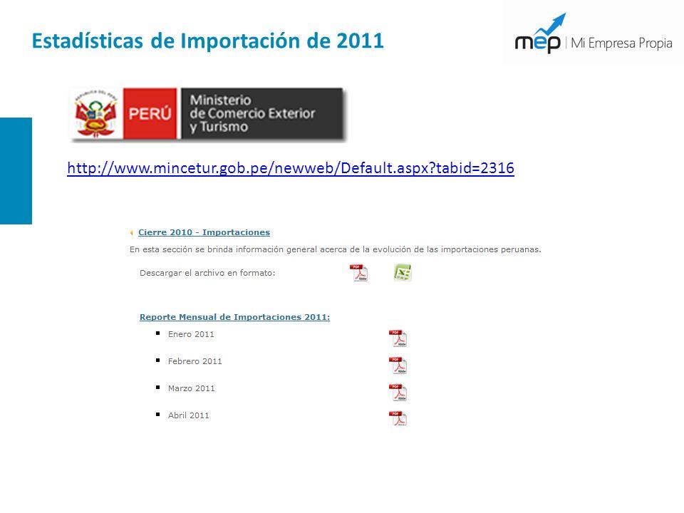 Estadísticas de Importación de 2011 http://www.mincetur.gob.pe/newweb/Default.aspx?tabid=2316