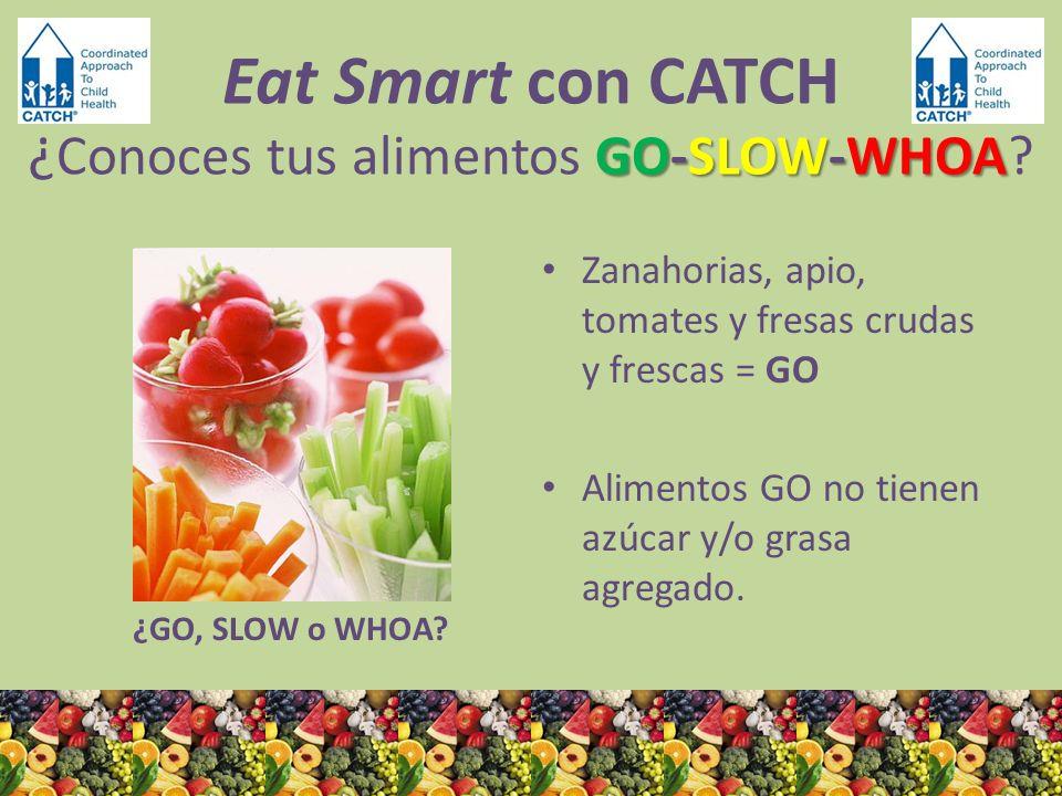 ¿GO, SLOW o WHOA? Zanahorias, apio, tomates y fresas crudas y frescas = GO Alimentos GO no tienen azúcar y/o grasa agregado. GO-SLOW-WHOA Eat Smart co