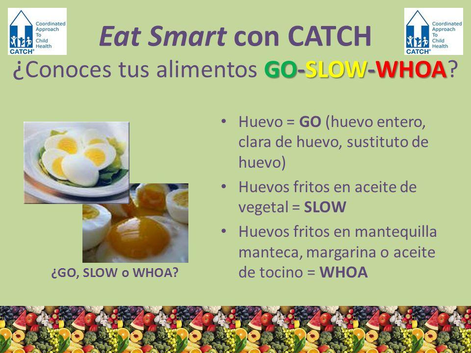 ¿GO, SLOW o WHOA? Huevo = GO (huevo entero, clara de huevo, sustituto de huevo) Huevos fritos en aceite de vegetal = SLOW Huevos fritos en mantequilla