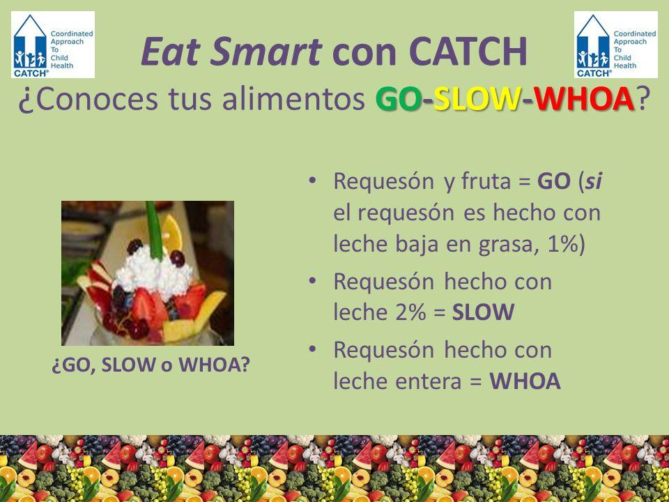 ¿GO, SLOW o WHOA? Requesón y fruta = GO (si el requesón es hecho con leche baja en grasa, 1%) Requesón hecho con leche 2% = SLOW Requesón hecho con le