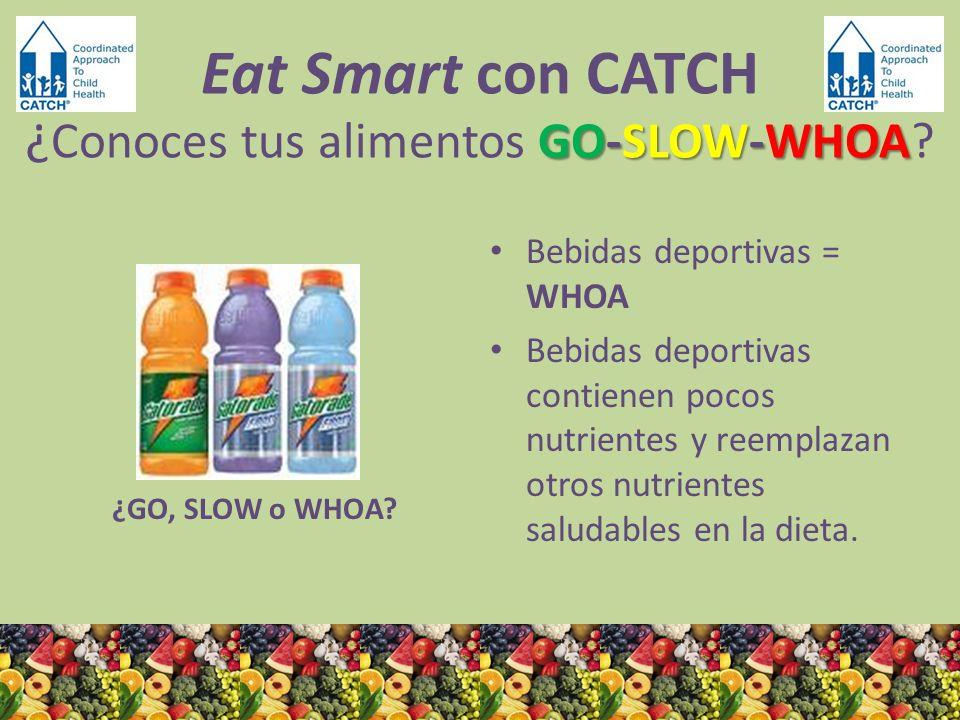 ¿GO, SLOW o WHOA? Bebidas deportivas = WHOA Bebidas deportivas contienen pocos nutrientes y reemplazan otros nutrientes saludables en la dieta. GO-SLO