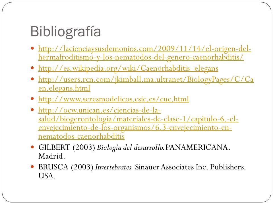 Bibliografía http://lacienciaysusdemonios.com/2009/11/14/el-origen-del- hermafroditismo-y-los-nematodos-del-genero-caenorhabditis/ http://lacienciaysu