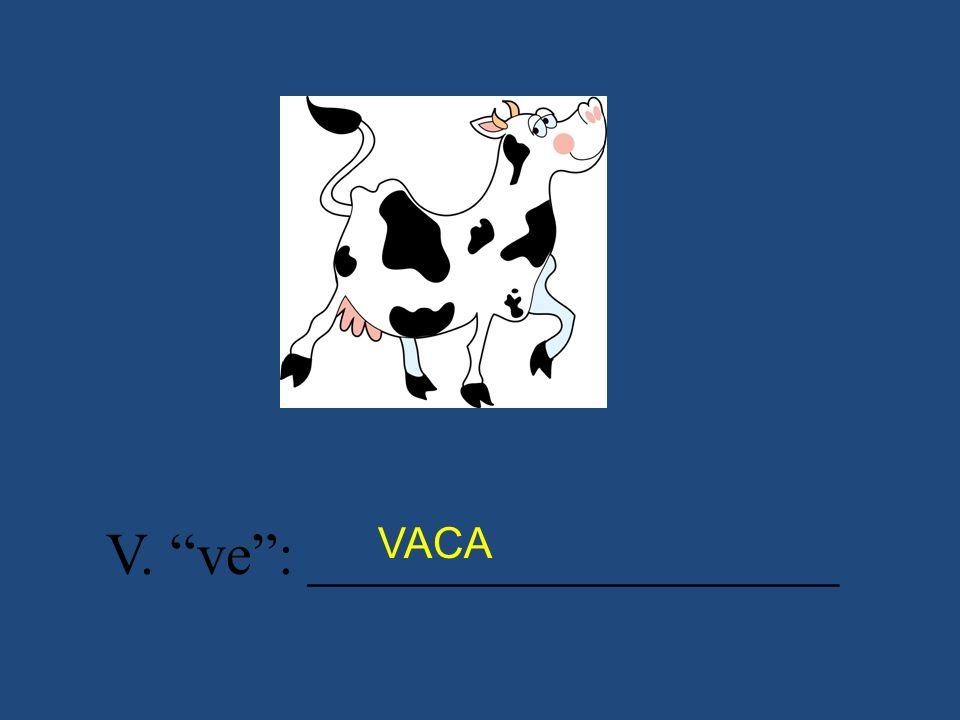 V. ve: __________________ VACA