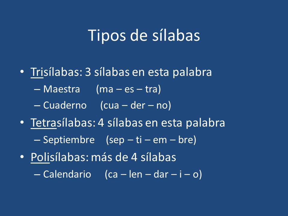 Tipos de sílabas Trisílabas: 3 sílabas en esta palabra – Maestra (ma – es – tra) – Cuaderno (cua – der – no) Tetrasílabas: 4 sílabas en esta palabra –