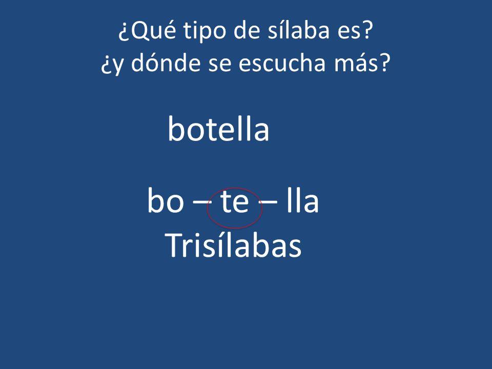 ¿Qué tipo de sílaba es? ¿y dónde se escucha más? botella bo – te – lla Trisílabas