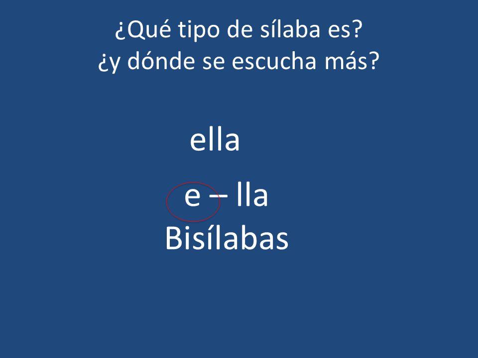 ¿Qué tipo de sílaba es? ¿y dónde se escucha más? ella e – lla Bisílabas