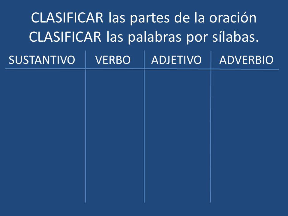 CLASIFICAR las partes de la oración CLASIFICAR las palabras por sílabas. SUSTANTIVO VERBO ADJETIVO ADVERBIO