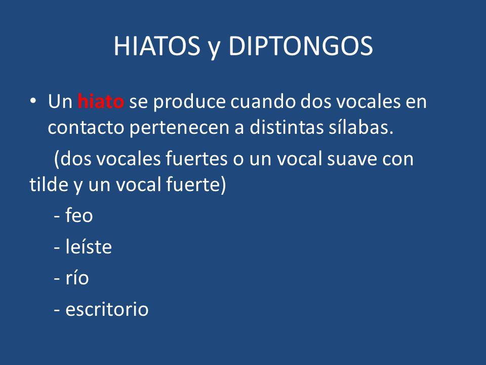 HIATOS y DIPTONGOS Un hiato se produce cuando dos vocales en contacto pertenecen a distintas sílabas. (dos vocales fuertes o un vocal suave con tilde