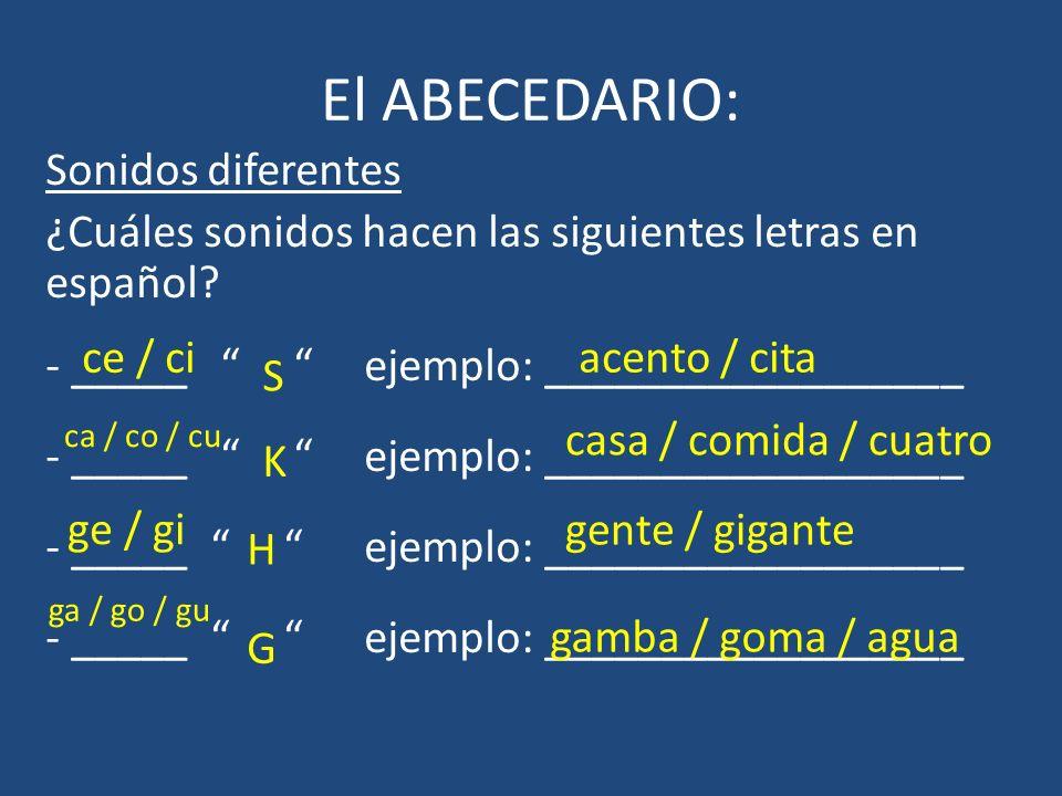 El ABECEDARIO: Sonidos diferentes ¿Cuáles sonidos hacen las siguientes letras en español? - _____ ejemplo: __________________ ce / ci S acento / cita