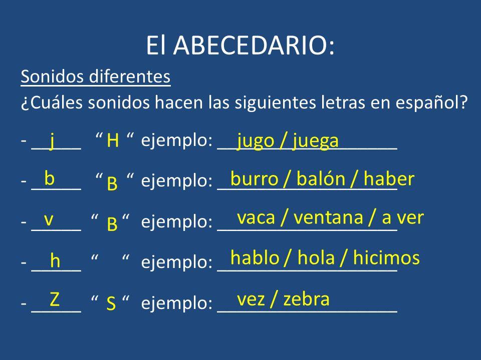 El ABECEDARIO: Sonidos diferentes ¿Cuáles sonidos hacen las siguientes letras en español? - _____ ejemplo: __________________ jHjugo / juega b B burro