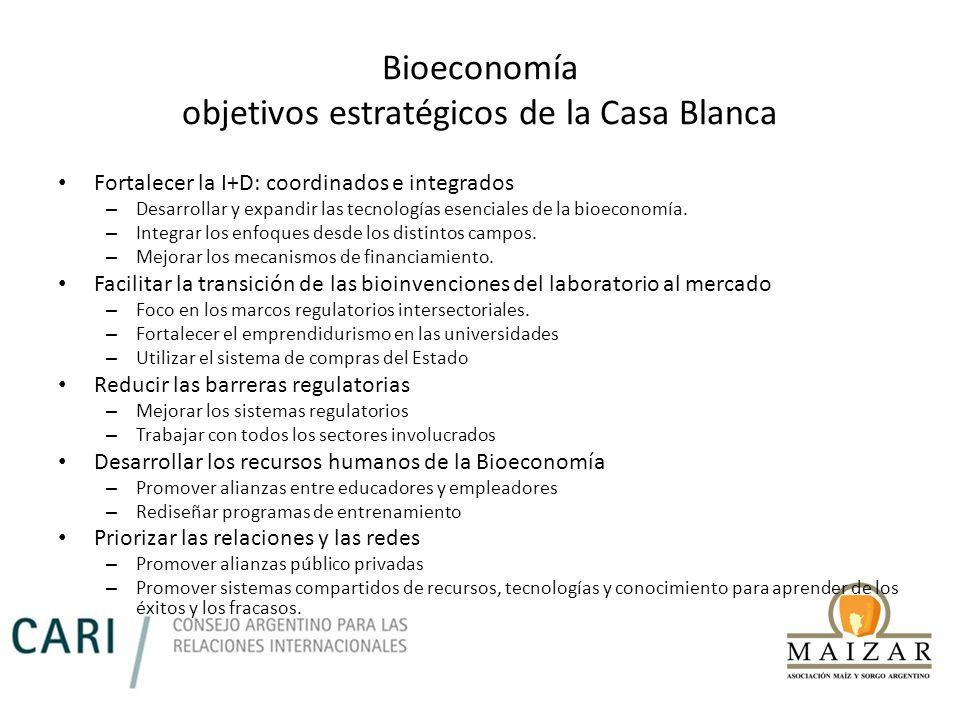 Bioeconomía objetivos estratégicos de la Casa Blanca Fortalecer la I+D: coordinados e integrados – Desarrollar y expandir las tecnologías esenciales d