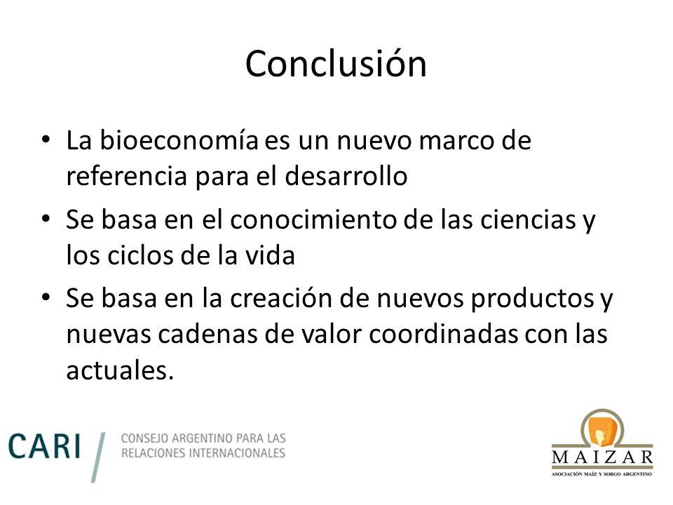 Conclusión La bioeconomía es un nuevo marco de referencia para el desarrollo Se basa en el conocimiento de las ciencias y los ciclos de la vida Se bas