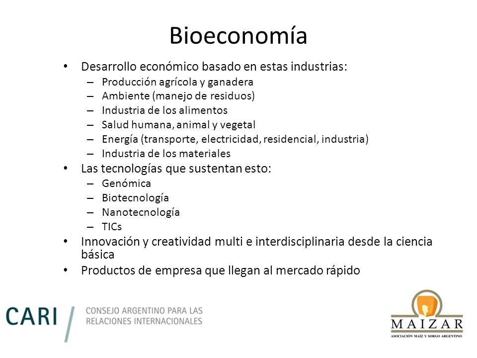 Bioeconomía Desarrollo económico basado en estas industrias: – Producción agrícola y ganadera – Ambiente (manejo de residuos) – Industria de los alime