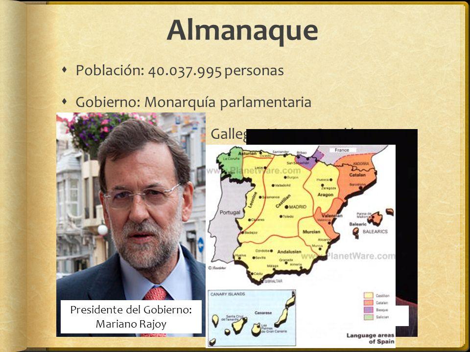 Almanaque Población: 40.037.995 personas Gobierno: Monarquía parlamentaria Idiomas: Castellano, Gallego, Vasco, Catalán Moneda: Euro Presidente del Go