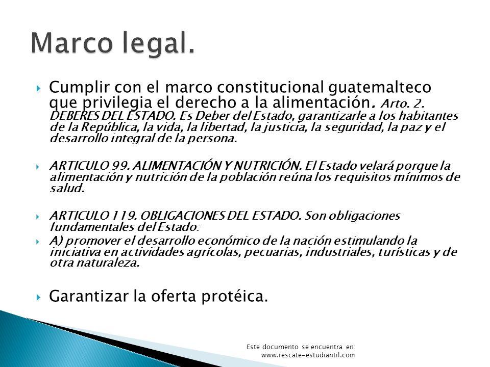 Cumplir con el marco constitucional guatemalteco que privilegia el derecho a la alimentación. Arto. 2. DEBERES DEL ESTADO. Es Deber del Estado, garant