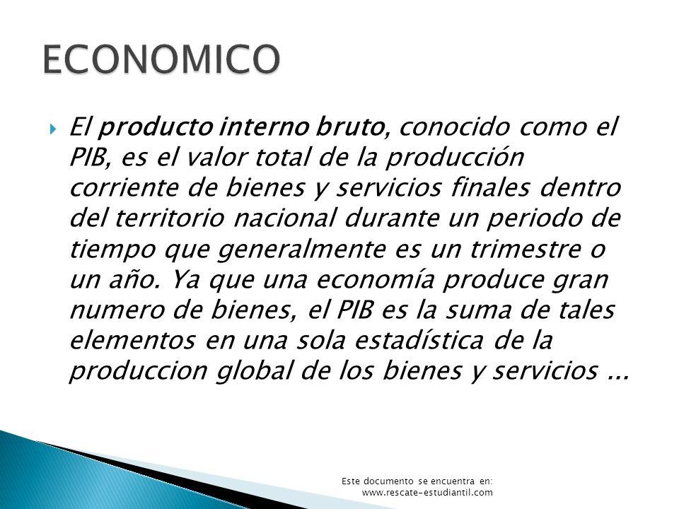 El producto interno bruto, conocido como el PIB, es el valor total de la producción corriente de bienes y servicios finales dentro del territorio naci