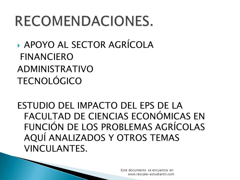APOYO AL SECTOR AGRÍCOLA FINANCIERO ADMINISTRATIVO TECNOLÓGICO ESTUDIO DEL IMPACTO DEL EPS DE LA FACULTAD DE CIENCIAS ECONÓMICAS EN FUNCIÓN DE LOS PRO