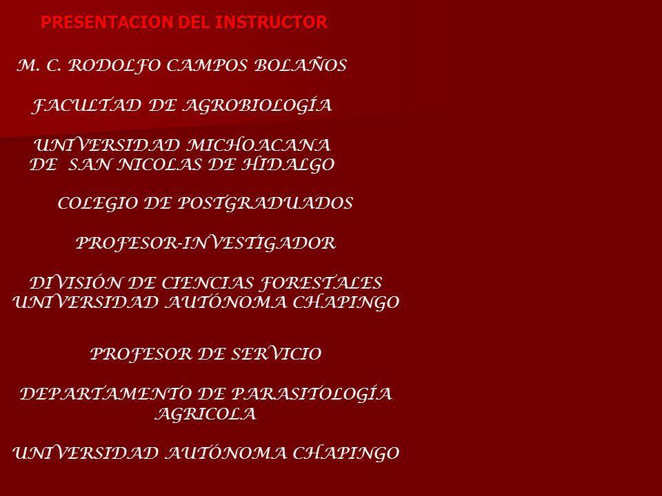 M. C. RODOLFO CAMPOS BOLAÑOS FACULTAD DE AGROBIOLOGÍA UNIVERSIDAD MICHOACANA DE SAN NICOLAS DE HIDALGO COLEGIO DE POSTGRADUADOS PROFESOR-INVESTIGADOR