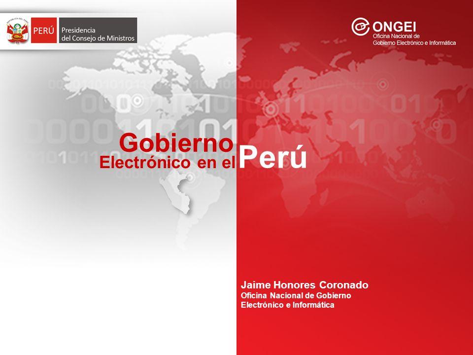 Gobierno Perú Electrónico en el La PCM a través de la ONGEI, se encarga de normar, coordinar, integrar y promover el desarrollo de la actividad informática en la Administración Pública ( DS Nº 066-2003-PCM, DS Nº 067-2003- PCM).