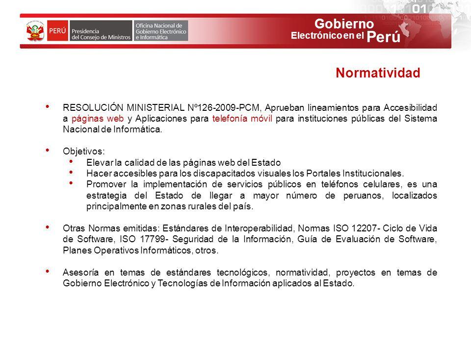 Gobierno Perú Electrónico en el RESOLUCIÓN MINISTERIAL Nº126-2009-PCM, Aprueban lineamientos para Accesibilidad a páginas web y Aplicaciones para tele