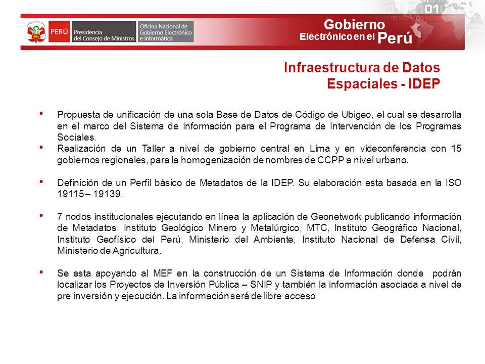 Gobierno Perú Electrónico en el Propuesta de unificación de una sola Base de Datos de Código de Ubigeo, el cual se desarrolla en el marco del Sistema