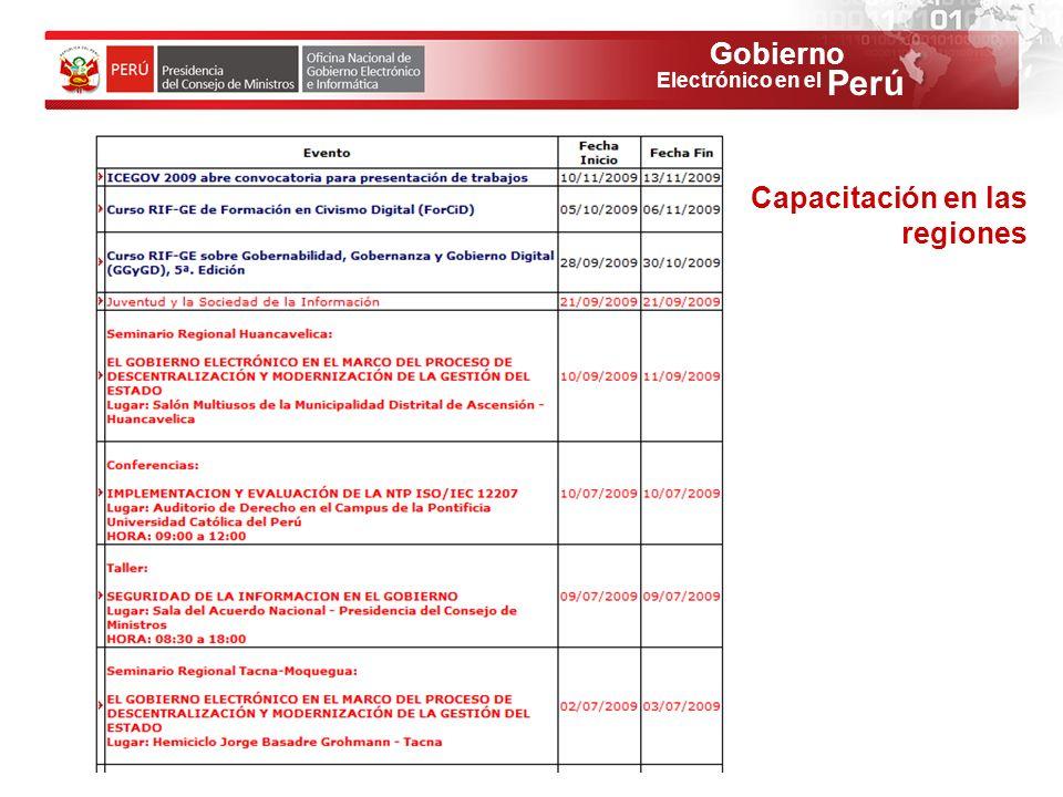 Gobierno Perú Electrónico en el Capacitación en las regiones