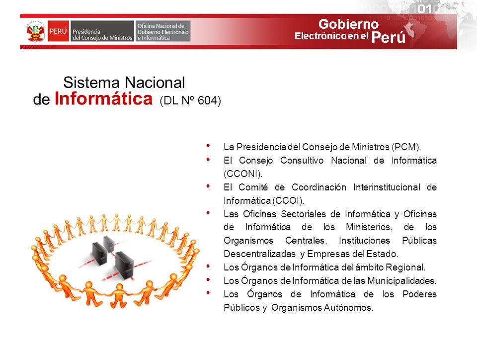 Gobierno Perú Electrónico en el La Presidencia del Consejo de Ministros (PCM). El Consejo Consultivo Nacional de Informática (CCONI). El Comité de Coo