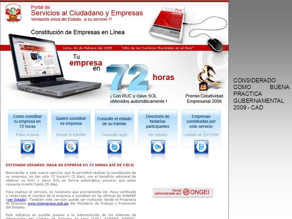 CONSIDERADO COMO BUENA PRACTICA GUBERNAMENTAL 2009 - CAD