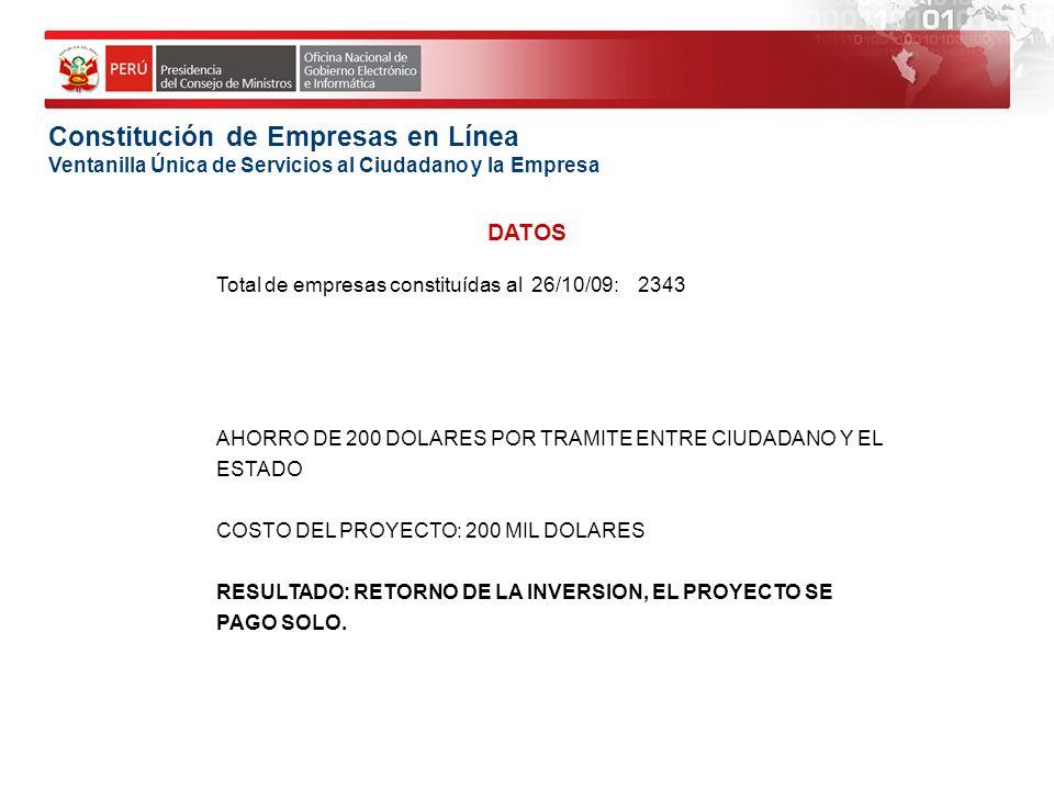 Constitución de Empresas en Línea Ventanilla Única de Servicios al Ciudadano y la Empresa Total de empresas constituídas al 26/10/09:2343 AHORRO DE 20