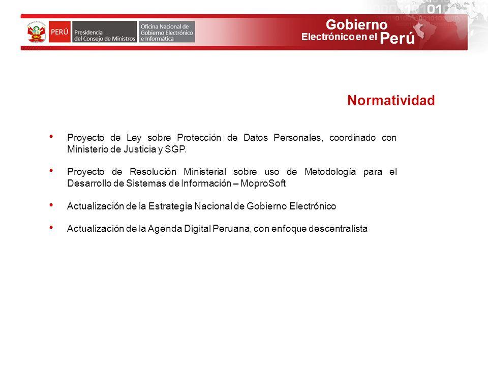 Gobierno Perú Electrónico en el Proyecto de Ley sobre Protección de Datos Personales, coordinado con Ministerio de Justicia y SGP. Proyecto de Resoluc