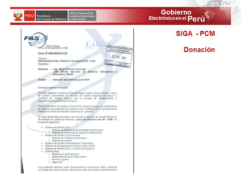 Gobierno Perú Electrónico en el SIGA - PCM Donación