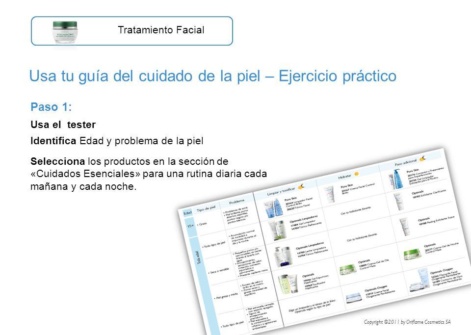 Paso 1: Usa el tester Identifica Edad y problema de la piel Selecciona los productos en la sección de «Cuidados Esenciales» para una rutina diaria cad