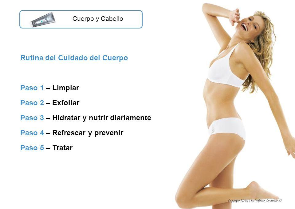 Rutina del Cuidado del Cuerpo Paso 1 – Limpiar Paso 2 – Exfoliar Paso 3 – Hidratar y nutrir diariamente Paso 4 – Refrescar y prevenir Paso 5 – Tratar