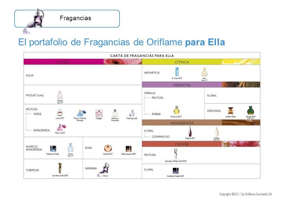 El portafolio de Fragancias de Oriflame para Ella Fragancias Copyright ©2011 by Oriflame Cosmetics SA
