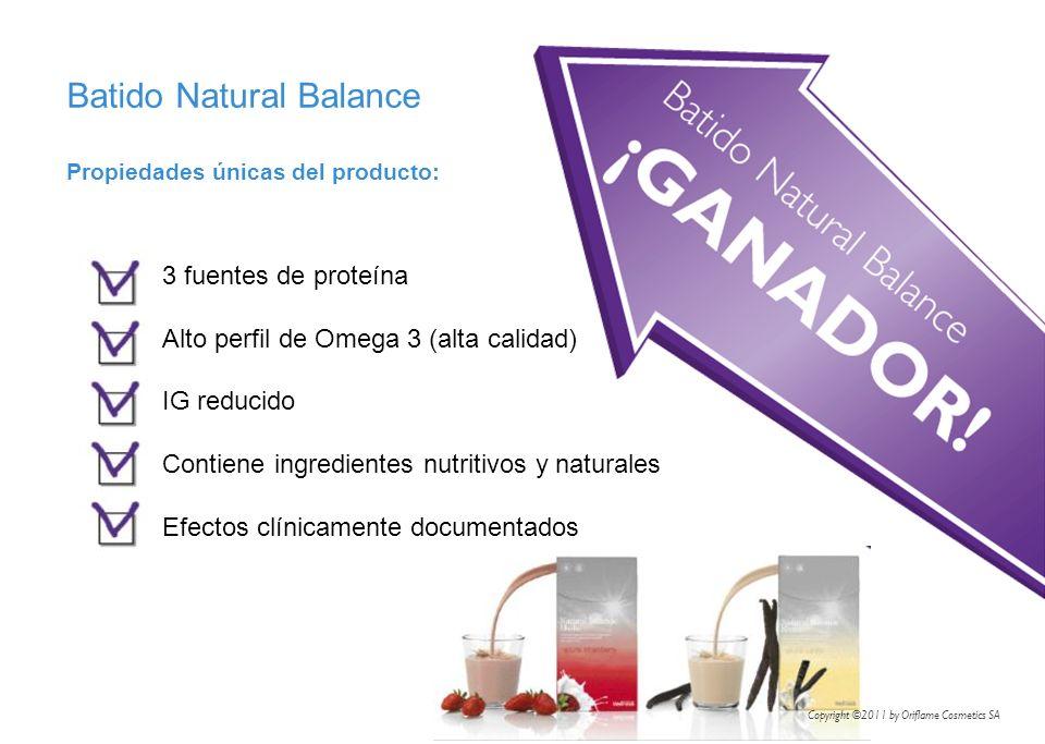 Propiedades únicas del producto: Batido Natural Balance 3 fuentes de proteína Alto perfil de Omega 3 (alta calidad) IG reducido Contiene ingredientes