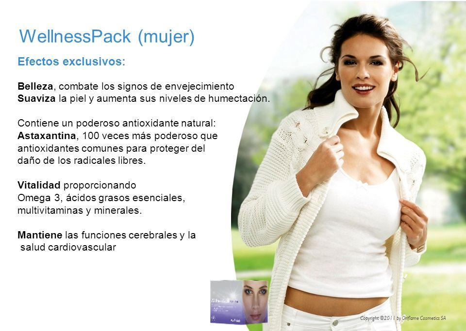 WellnessPack (mujer) Efectos exclusivos: Belleza, combate los signos de envejecimiento Suaviza la piel y aumenta sus niveles de humectación. Contiene