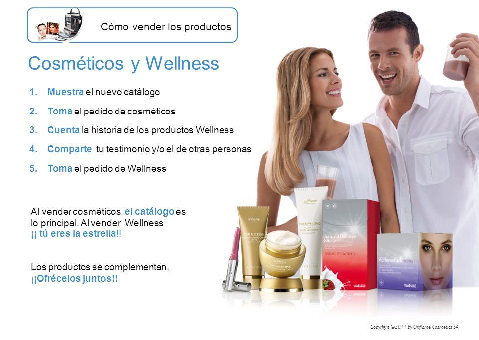 1.Muestra el nuevo catálogo 2.Toma el pedido de cosméticos 3.Cuenta la historia de los productos Wellness 4.Comparte tu testimonio y/o el de otras per