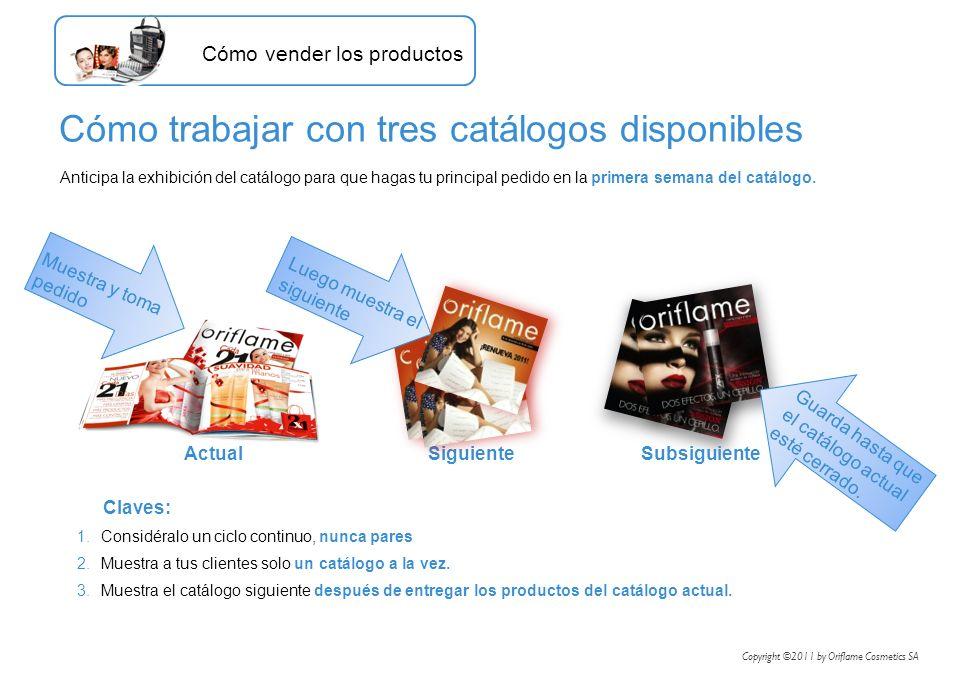 Anticipa la exhibición del catálogo para que hagas tu principal pedido en la primera semana del catálogo. Cómo trabajar con tres catálogos disponibles