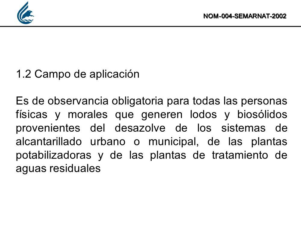 NOM-004-SEMARNAT-2002 1.2 Campo de aplicación Es de observancia obligatoria para todas las personas físicas y morales que generen lodos y biosólidos p