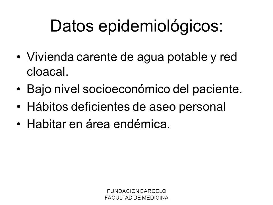 FUNDACION BARCELO FACULTAD DE MEDICINA Datos epidemiológicos: Vivienda carente de agua potable y red cloacal.
