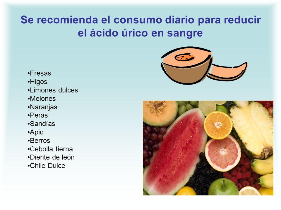 Se recomienda el consumo diario para reducir el ácido úrico en sangre Fresas Higos Limones dulces Melones Naranjas Peras Sandías Apio Berros Cebolla t