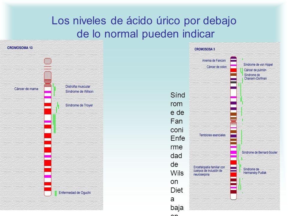 Los niveles de ácido úrico por debajo de lo normal pueden indicar Sínd rom e de Fan coni Enfe rme dad de Wils on Diet a baja en puri nas Sida