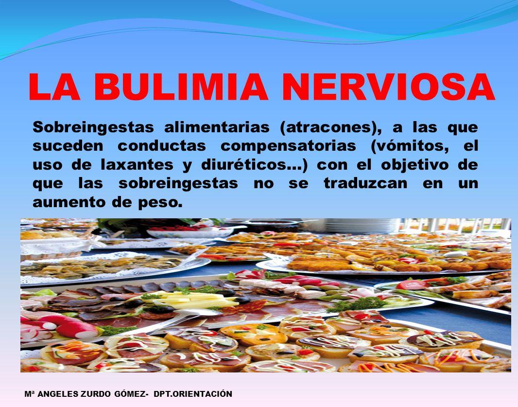 LA BULIMIA NERVIOSA Mª ANGELES ZURDO GÓMEZ- DPT.ORIENTACIÓN Sobreingestas alimentarias (atracones), a las que suceden conductas compensatorias (vómito