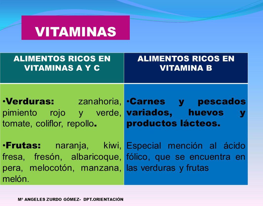 VITAMINAS Mª ANGELES ZURDO GÓMEZ- DPT.ORIENTACIÓN ALIMENTOS RICOS EN VITAMINAS A Y C ALIMENTOS RICOS EN VITAMINA B Verduras: zanahoria, pimiento rojo y verde, tomate, coliflor, repollo.